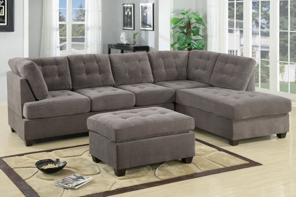 Grey waffle sectional sofa poundex family room remodel for Ava nailhead chaise