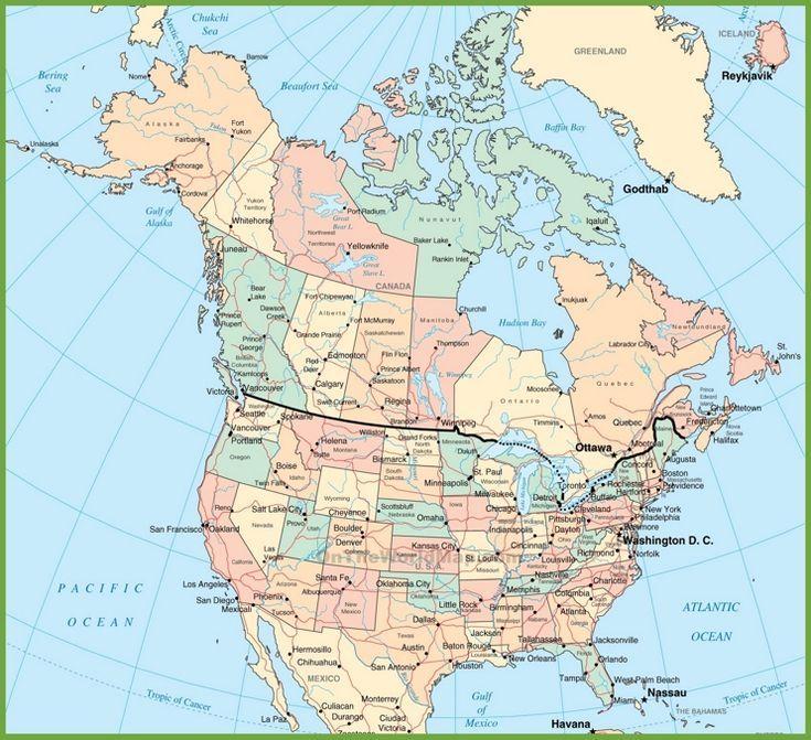 Usa Und Kanada Karte Nordamerika Reisen Amerika Landkarte Kanada