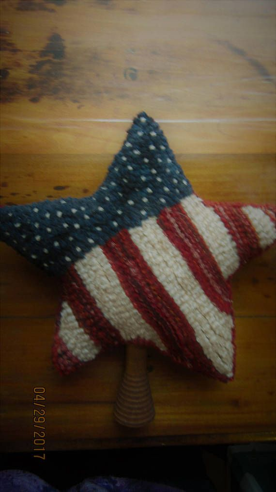 Primitive Hooked Rug Star Patriotic Flag on a Antique Bobbin