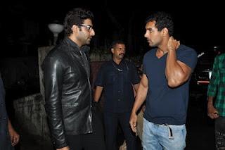 Abhishek Bachchan and John Abraham at Special Screening of Movie Bol Bachchan. | Bollywood Cleavage