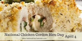 """It's National Cordon Bleu Day! Did you know that """"cordon bleu"""" means """"blue ribbon"""" in French? In the 1500s, the Order of the Knights of the Holy Spirit became known as """"Les Cordon Bleus."""" The knights used a blue ribbon to hang their talisman, and eventually the term became associated with distinction and honor. Today, we still award blue ribbons for excellence!  In the culinary world, cordon bleu is a savory roulade dish made with chicken (or veal), ham, and Swiss cheese."""