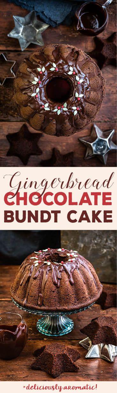 Christmas chocolate gingerbread bundt cake with chocolate glaze