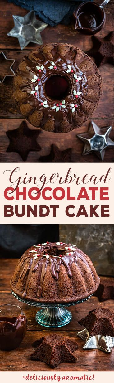 Christmas chocolate gingerbread bundt cake with chocolate glaze | Supergolden Bakes