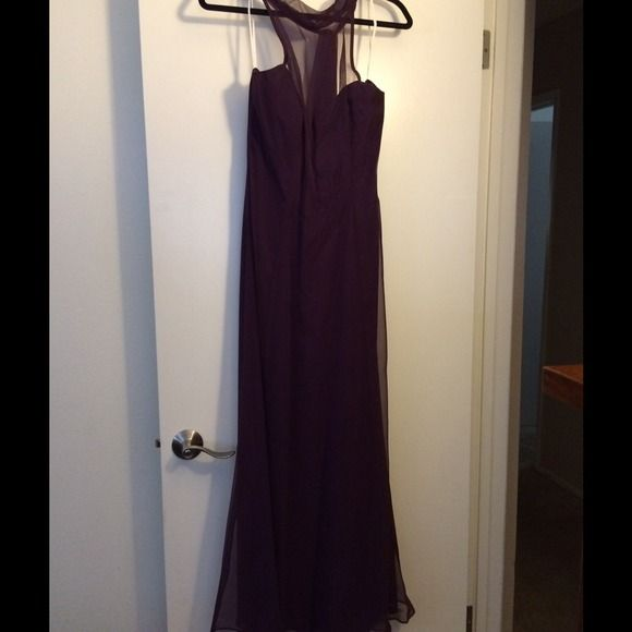 Beautiful plum dress! Reduced!Sheer halter plum long special occasion dress. Halter hangs down the back beautifully. Really pretty! Worn once! Dresses