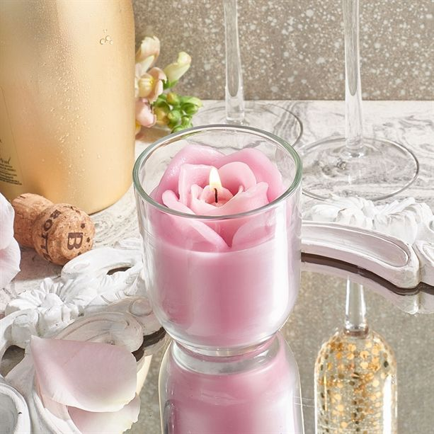 Rose & Prosecco Glass Candle