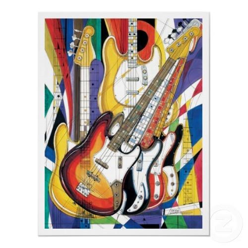Rock Jazz Bass Poster zazzle print, click for more Guitar art.