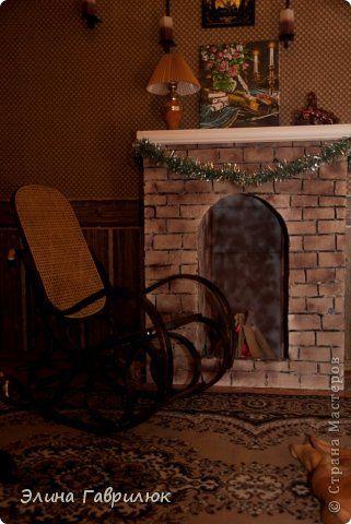 Интерьер Новый год Рождество Моделирование конструирование Уютный камин Гипс Дерево Краска Пенопласт Фанера фото 1