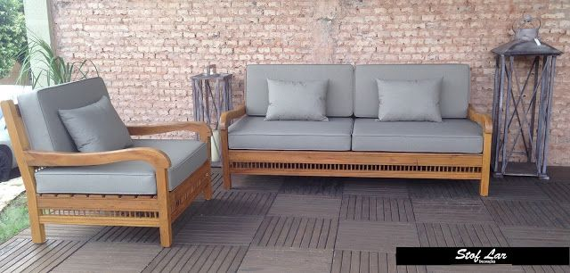 Stof Lar Decorações - Móveis em Madeira de Demolição : Banco/Sofá de Madeira com Almofadas + Poltrona