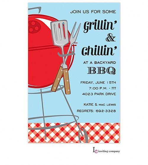 Grillin and Chillin Barbecue Party Invitations #bbqpartyidea bbq