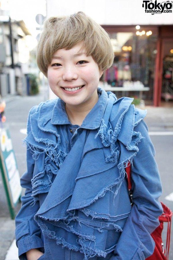Deconstructed Denim, Converse & Short Blonde Hairstyle in Harajuku