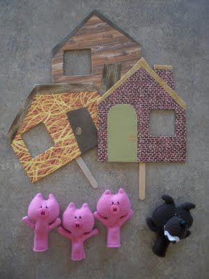 Obsessively Stitching: Finger Puppets-- 3 Little Pigs