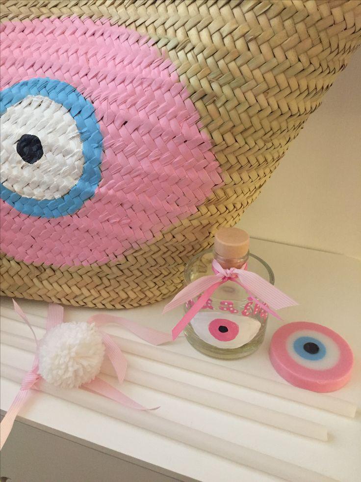 pink evileye straw basket baptism set  www.cottonprince.gr