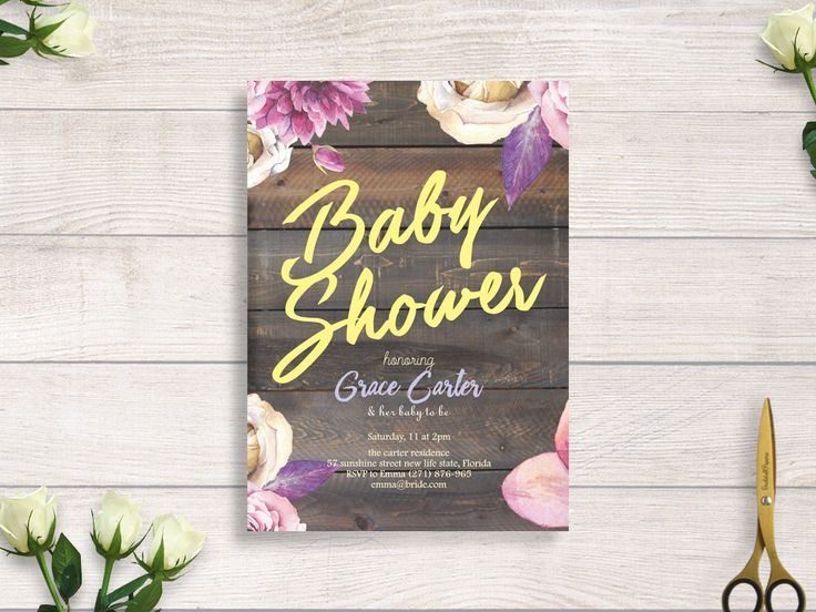 wood rustic baby shower invitation, falling in love invitation baby shower, floral baby shower invitation#BBS214 by BRIDETALKpaperie on Etsy