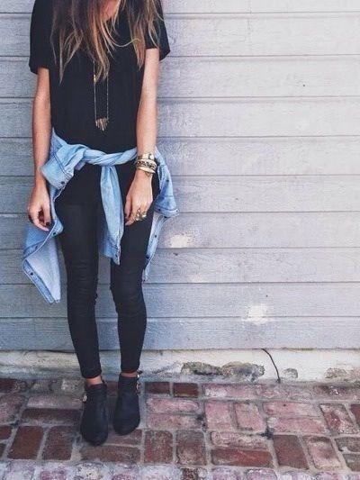 Black leggings, denim shirt around waist, black loose tee, black keds, long necklace
