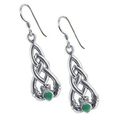 Celtic Earrings Claddagh inset with Malachite