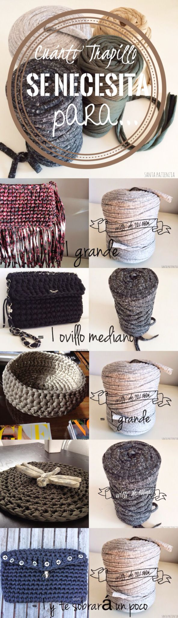 Cuánto trapillo hace falta para... Bolsos, clutch, cesto... DIY  T-Shirt Yarn Ideas