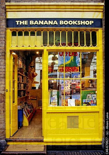The Banana Bookshop. London. England  This yellow color and name really work at creating identity. Easily remembered name and appearance.