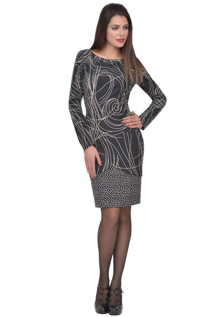 jurk met grafisch lijnenspel en polkadotprint