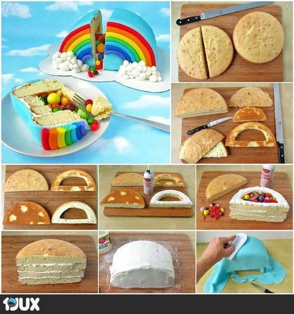 Regenbogenkuchen mit Überraschung im Inneren :)
