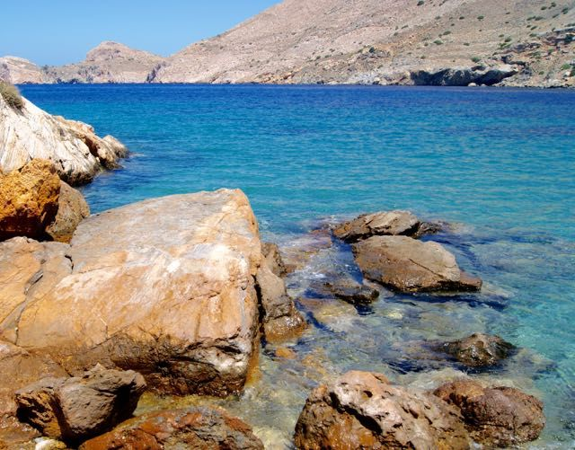 bluest cleanest water summer on Syros