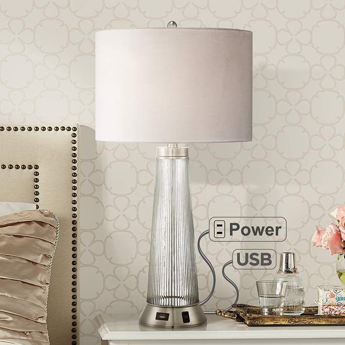 Hamish Metal And Glass Usb Table Lamp With Outlet 7k232 Lamps Plus Modern Table Lamp