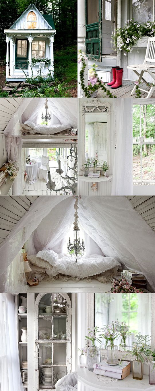 backyard cottage getaway--very romantic: Spaces, Ideas, Sweet, Favorite Places, Guest House, Dream Cottages, Lovely, Garden
