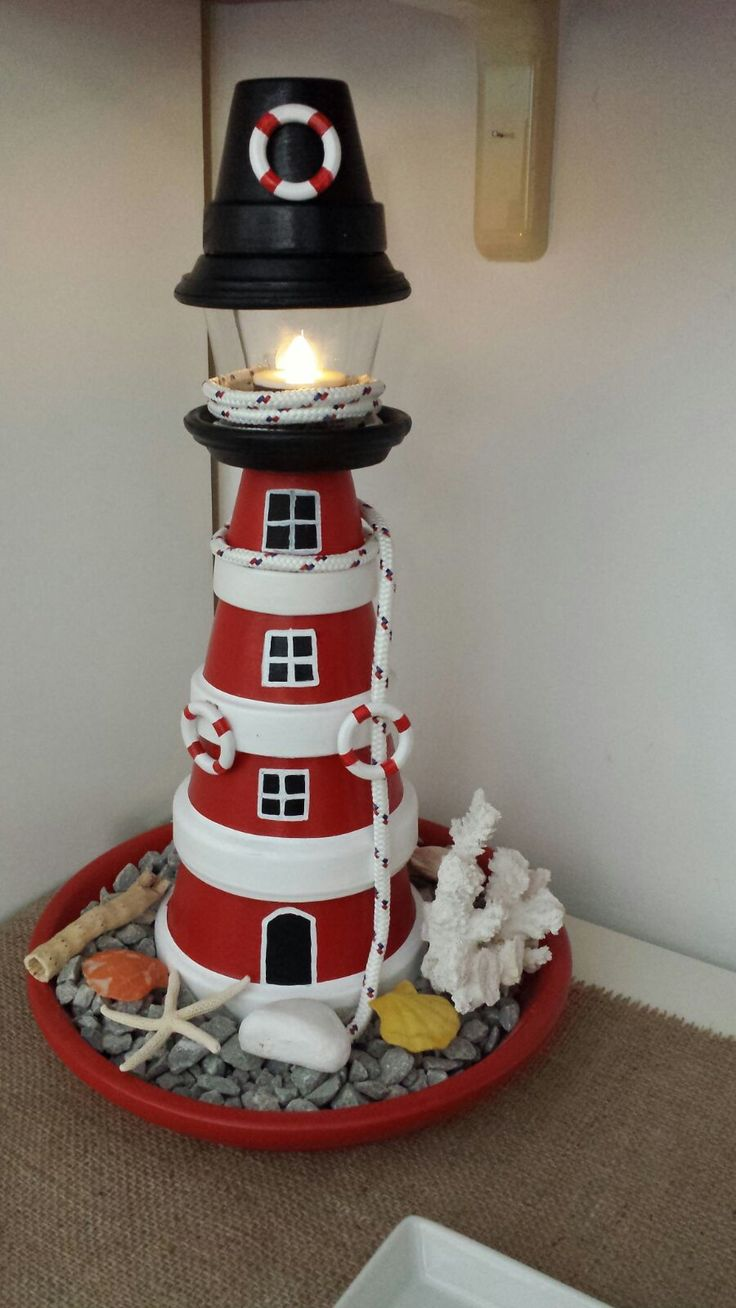 how to make a lighthouse out of clay pots