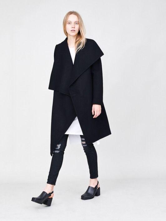 Oak NYC Black Wool Coat NEW With Tags #OakNYC #Peacoat