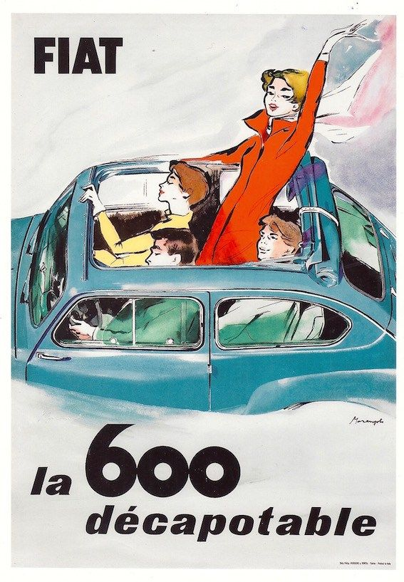 FIAT 600 décapotable Manifesto pubblicitario originale #posters #vintage #italy www.posterimage.it