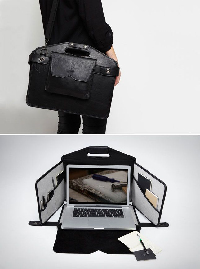 How cool is this bag? It's a sleek laptop bag that unfolds into a portable workstation.