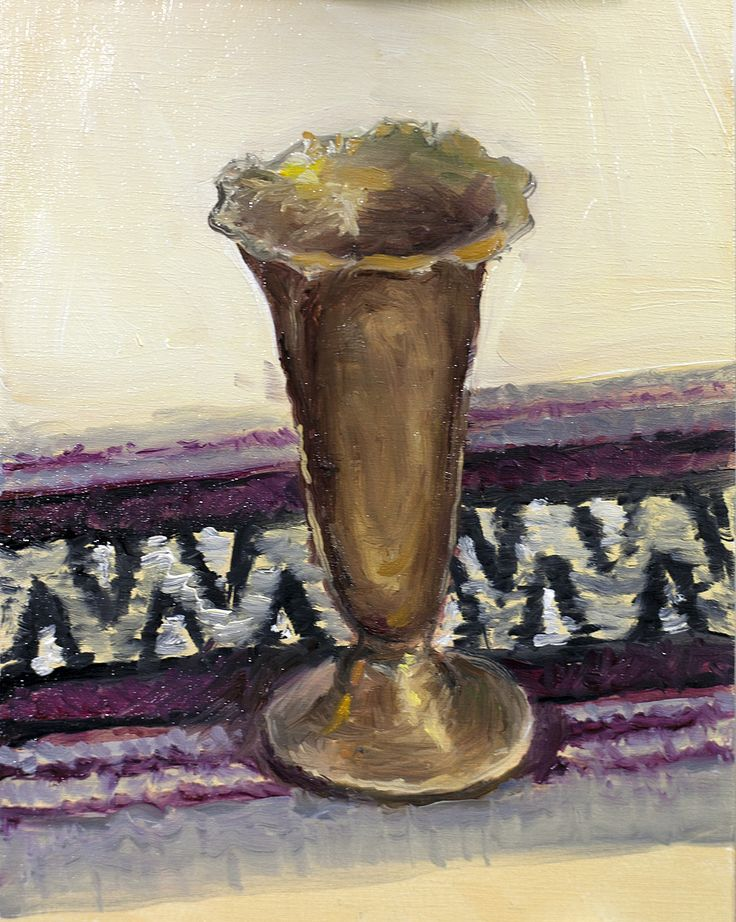 Small still life oilpainting sketch. Bronze cup. Oil on wood. 2017