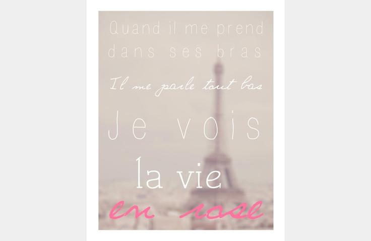 "La Vie en Rose Song Lyrics Typography Poster 8""x10"". $18.00, via Etsy."