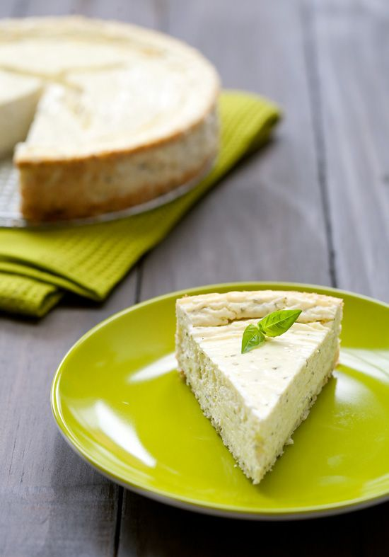 "savory basil and goat cheese cheesecake .. I was wondering when to eat this. It's listed as an ""appetizer"""