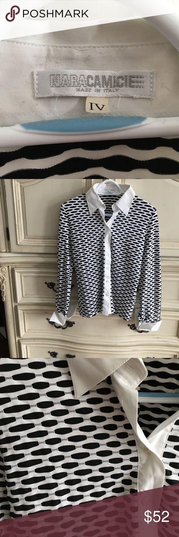 Nara Camicie tailored stretch shirt Stunning (made in Italy) black and white stretch shirt. Collar and cuffs make this a classic. It's fits to the body so could be four to six. Nara Camicie Tops Blouses