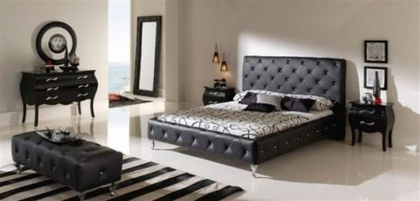 cama tapizada negra 23 - cama nelly