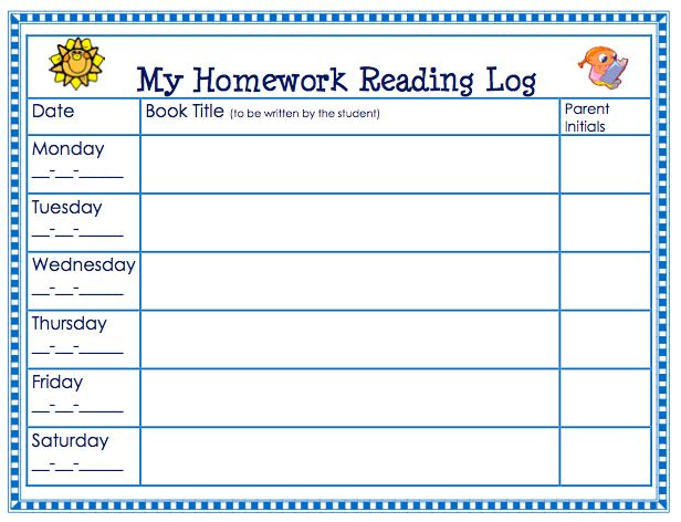 44 Best Reading And Homework Logs Images On Pinterest | Teaching
