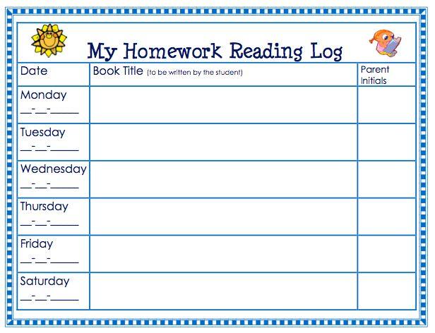 Homework Reading Log Template - Costumepartyrun