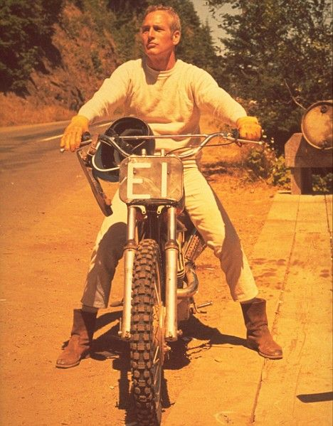 PAUL NEWMAN ON MOTORCYCLE