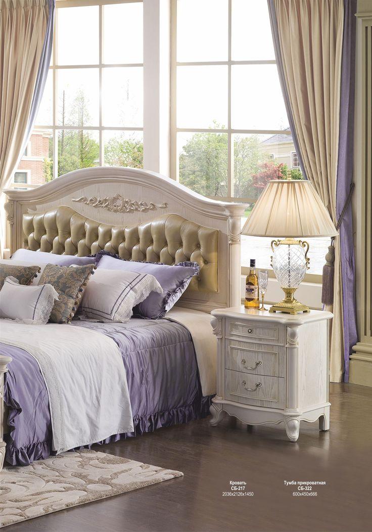 Белая деревянная кровать с мягким изголовьем со стяжкой капитоне