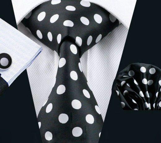 Luxusný bodkovaný kravatový set Bary - kravata + manžety + vreckovka, č.6