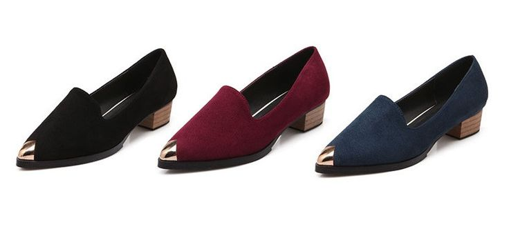 Womens Stylish Gold Tip Work Low Heels