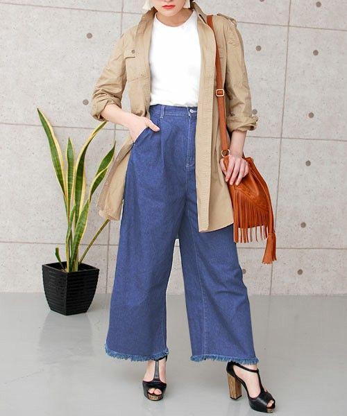 フレイドヘムフリンジハイウエストコットンデニムワイドパンツ(デニムパンツ)|MOCA(モカ)のファッション通販 - ZOZOTOWN