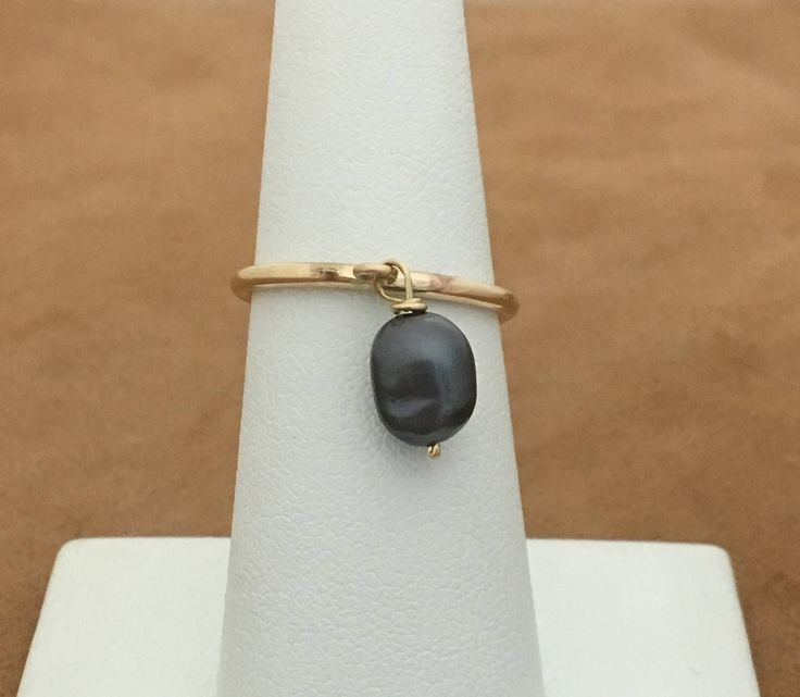 Black Pearl Ring-Dangle Pearl Ring- Gold Pearl Ring- Stacking Gold Ring -Freshwater Pearl ring-Gold filled ring.