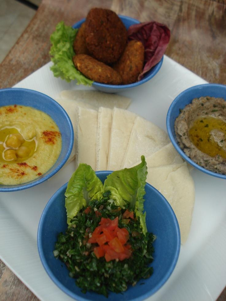 Mezze PlattersMiddle East - falafel ball, tabouli, humus, baba ganoush, pita bread #bali #bar #restaurant #food #lunch #dinner #kuta #tuban #indonesia
