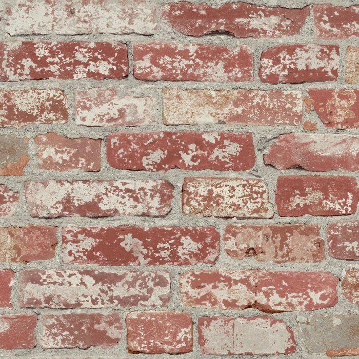 Joetta Stuccoed 16 5 L X 20 5 W Brick Peel And Stick Wallpaper Peel And Stick Wallpaper Red Brick Wallpaper Faux Brick