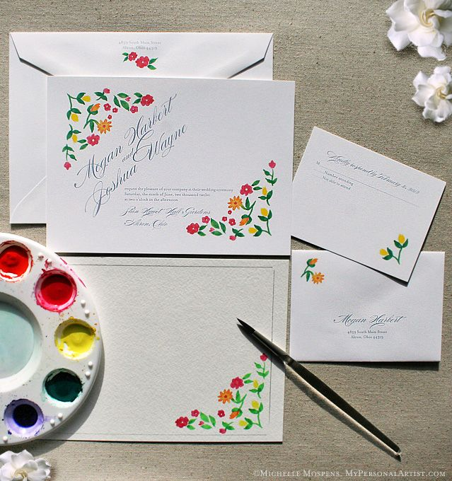 Hand-painted wedding invitations with hand-drawn flowers. Perfect for garden wedding.