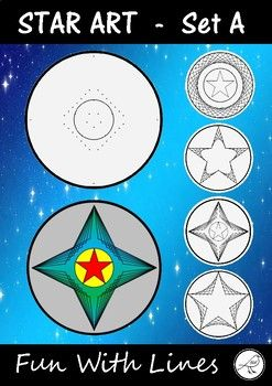 Fun With Lines. Dotty templates to create 4 different stars. Simply draw straight lines connecting the dots on the templates and wonderful designs with appear  such fun! Included:   4 different star templates  Example stars  black lines  Exampe stars - coloured  Easy-to-follow instructions (with images)The Process:   Draw the lines.