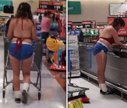 Patriotic Red White and Blue Bikini Top and Shorts at Walmart Fashion Fail - Funny Pictures at Walmart