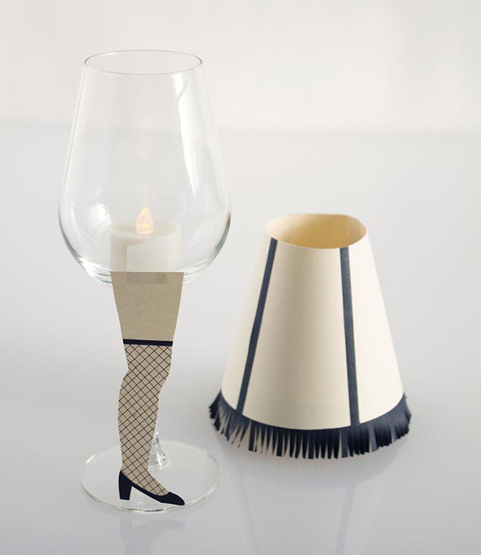 Turn a classic Christmas movie into some classy dinner table decor with this ingenious wine glass leg lamp tutorial inspired by A Christmas Story from David Stark Design over at Design Sponge.