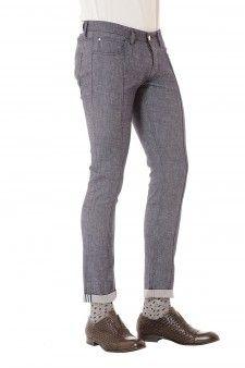 PAOLO PECORA Jeans blu slim fit per uomo primavera estate 2015